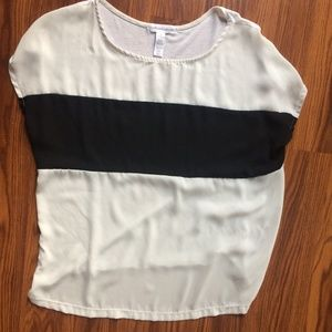 Tops - White Blouse with Black Stripe